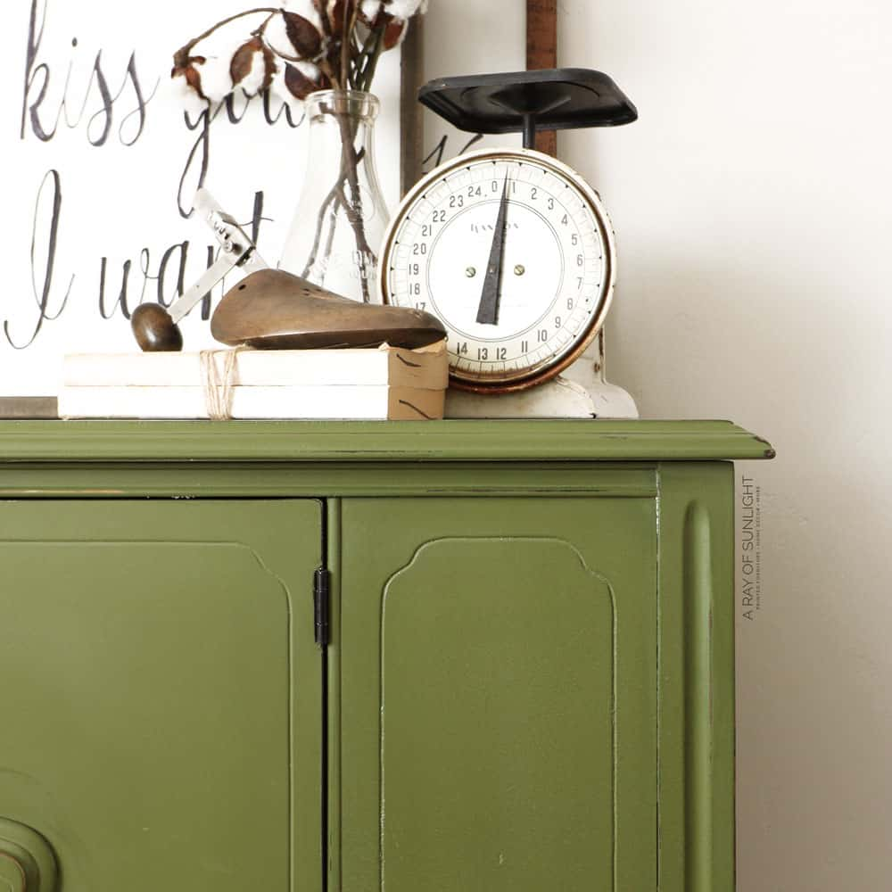 closeup of buffet painted in behr chalk paint and wax