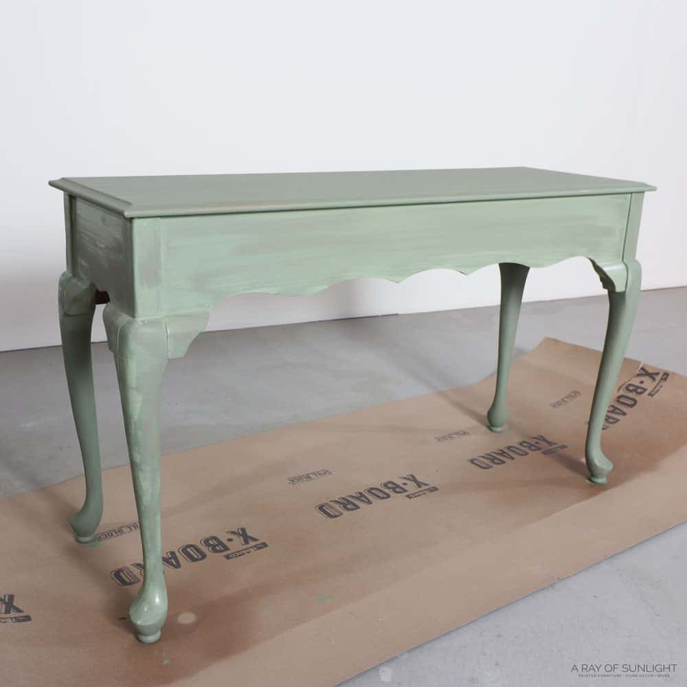 First coat of chalk paint on sofa table
