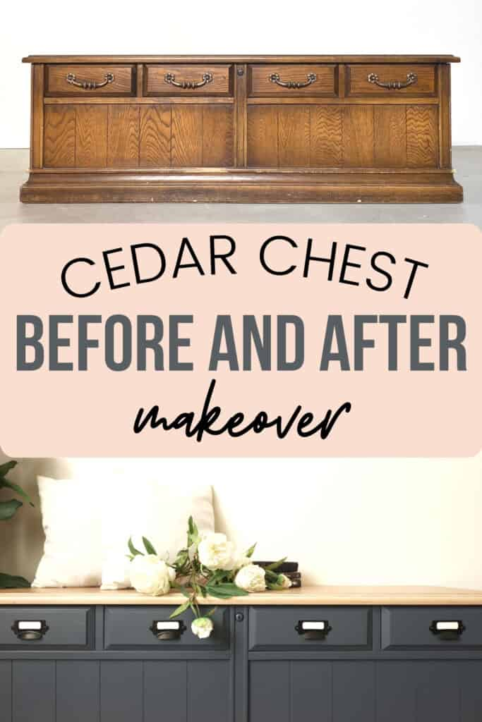 """""""cedar chest makeover"""" with before and after photos"""