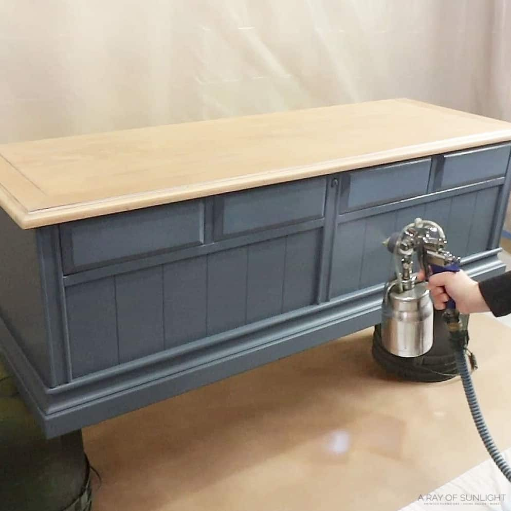 spraying clear topcoat with fuji paint sprayer