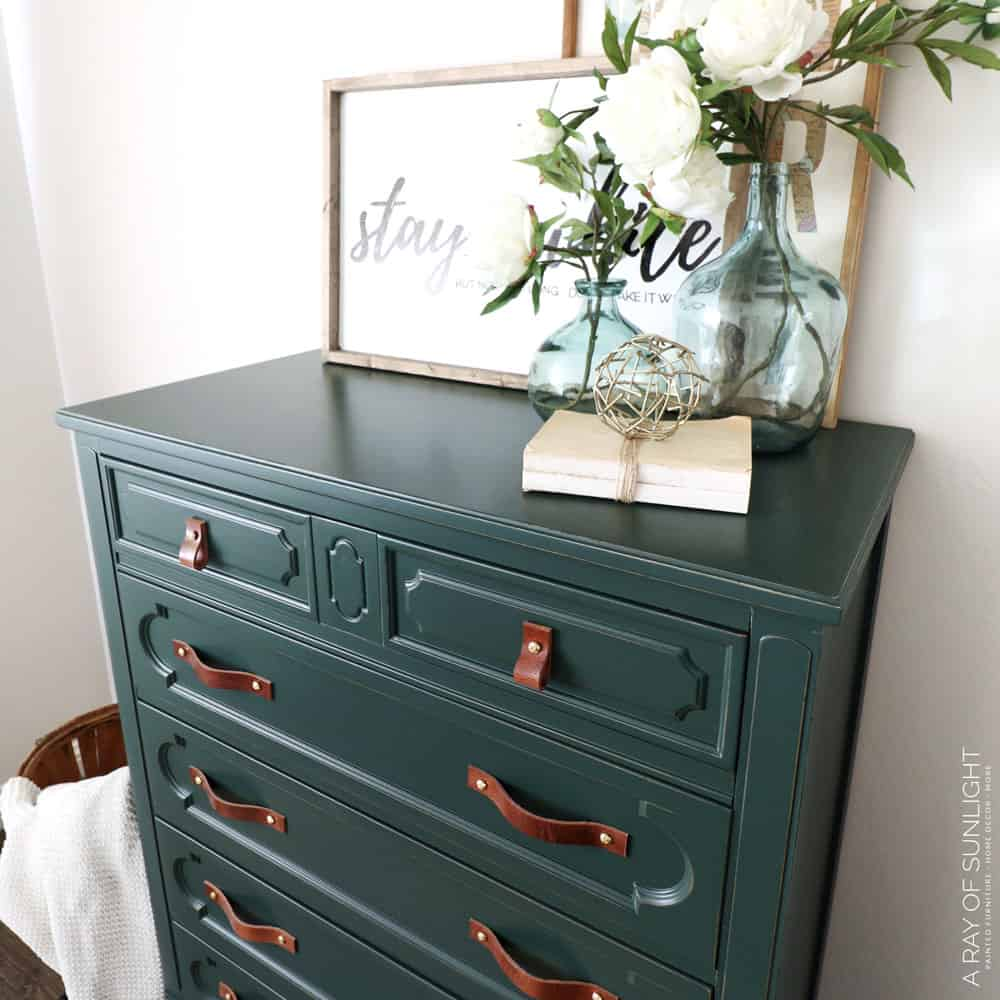 top view of green  painted dresser