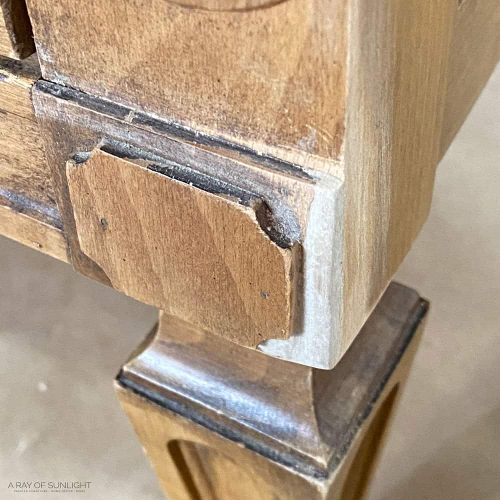 repaired dresser corner with kwikwood.