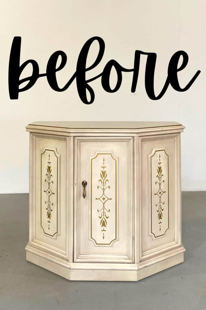 hallway cabinet before - creamy white with gold painted details
