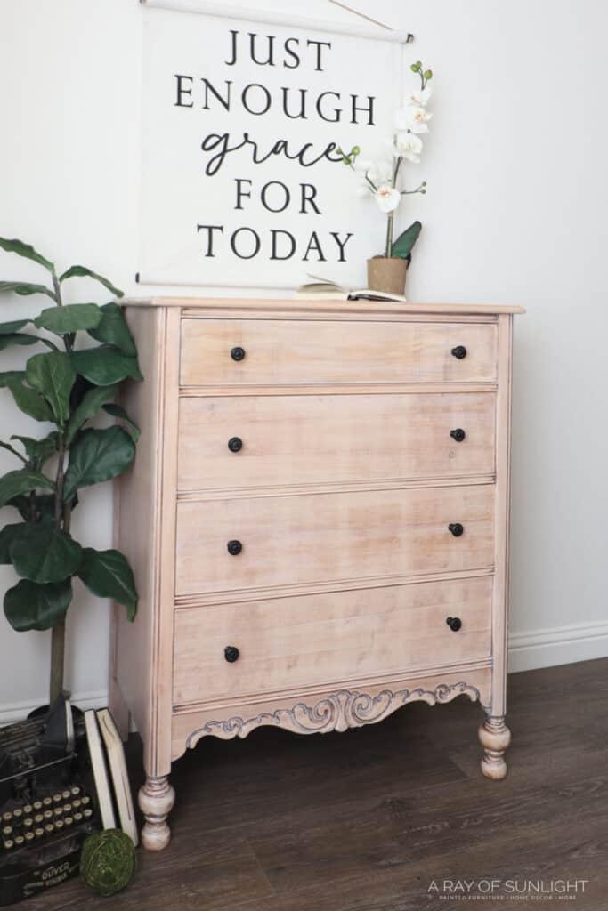 DIY Whitewash Dresser with Dark Stain left in the details