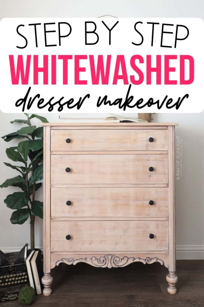 """step by step whitewashed dresser makeover"" with finished dresser"