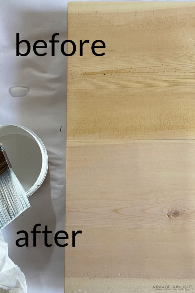 before and after whitewashed pine