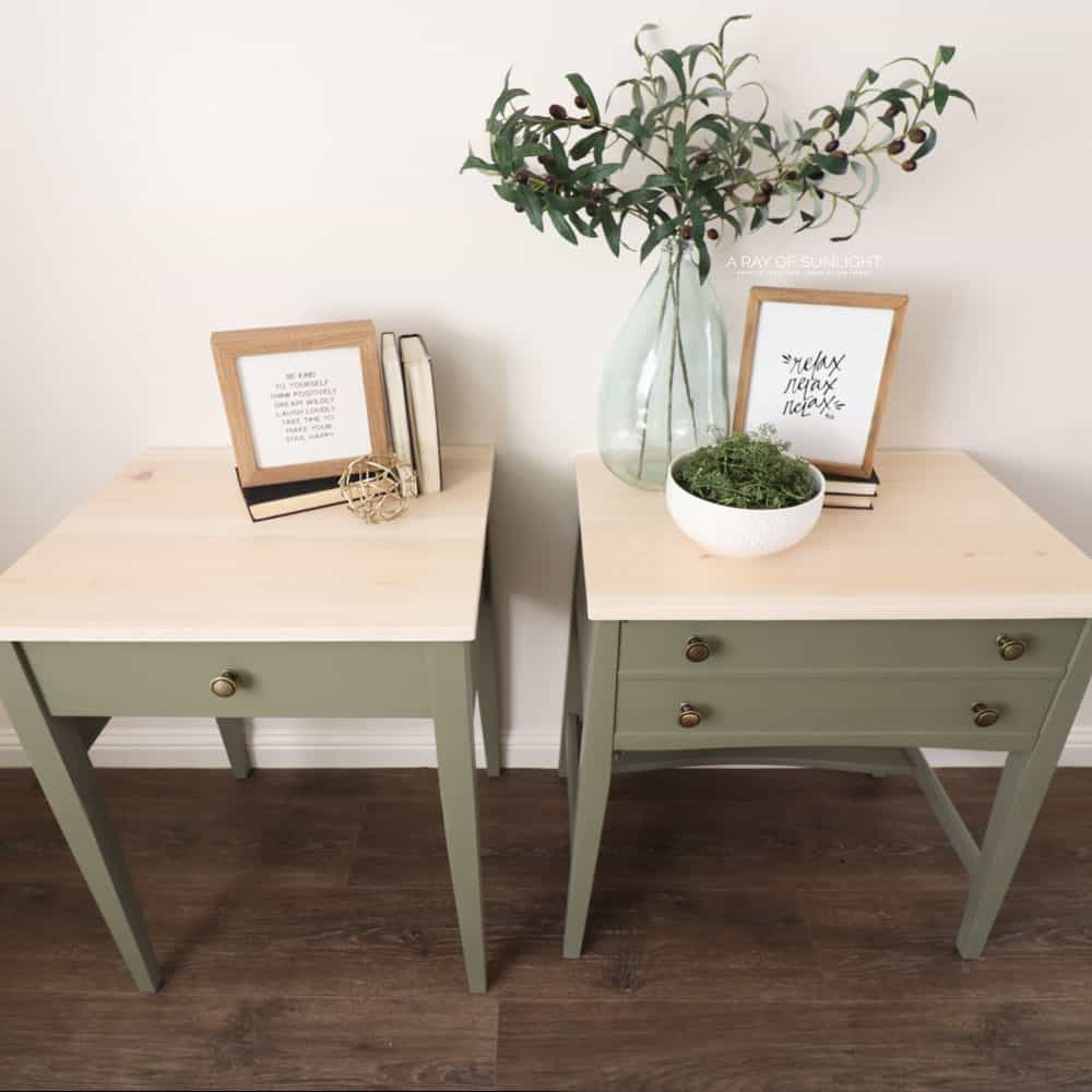 finished and repurposed sewing machine tables into nightstands