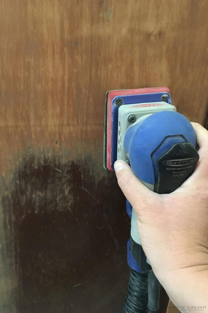 using the surfprep sander to remove the old finish