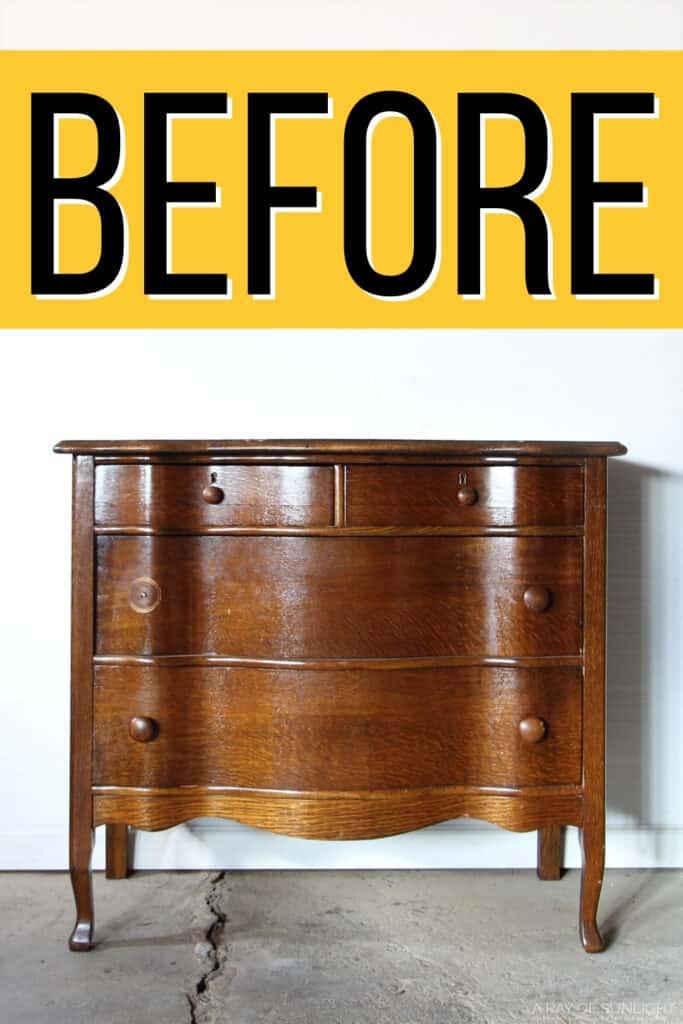 Vintage serpentine dresser before