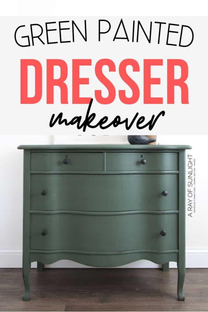Green painted dresser makeover