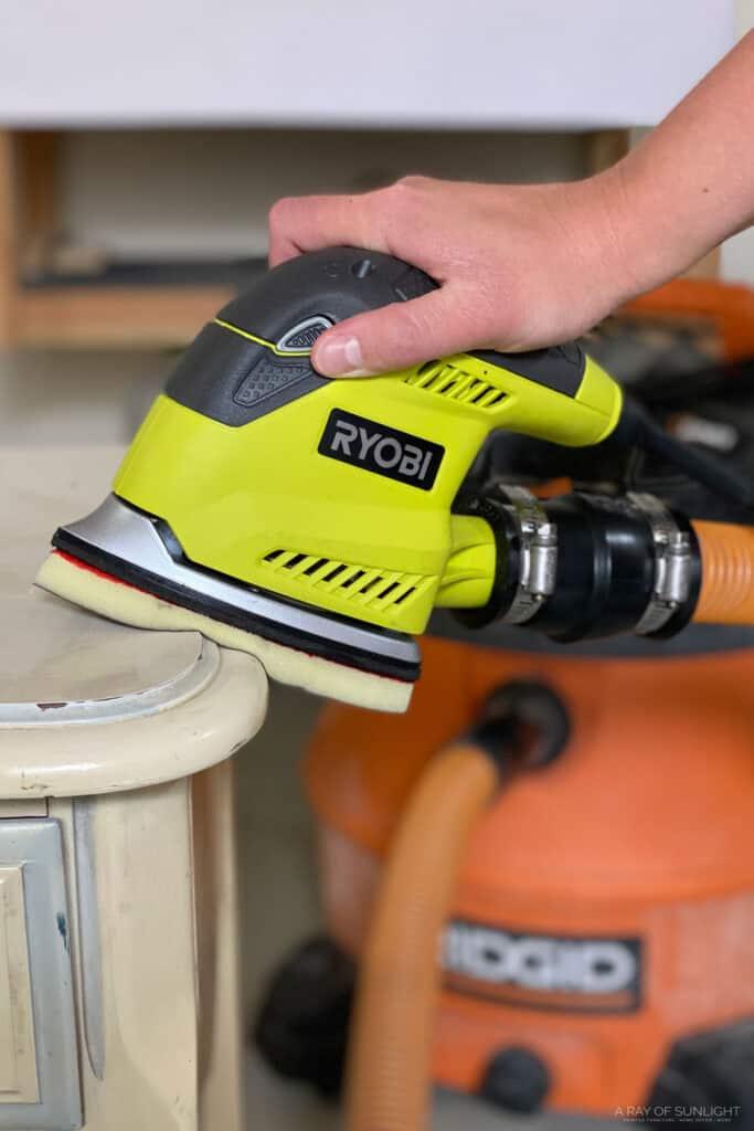 ryobi detail sander with foam pads and ridgid shop vac