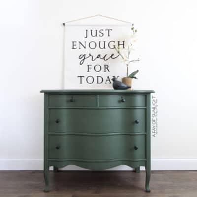 Dark Green Dresser Makeover