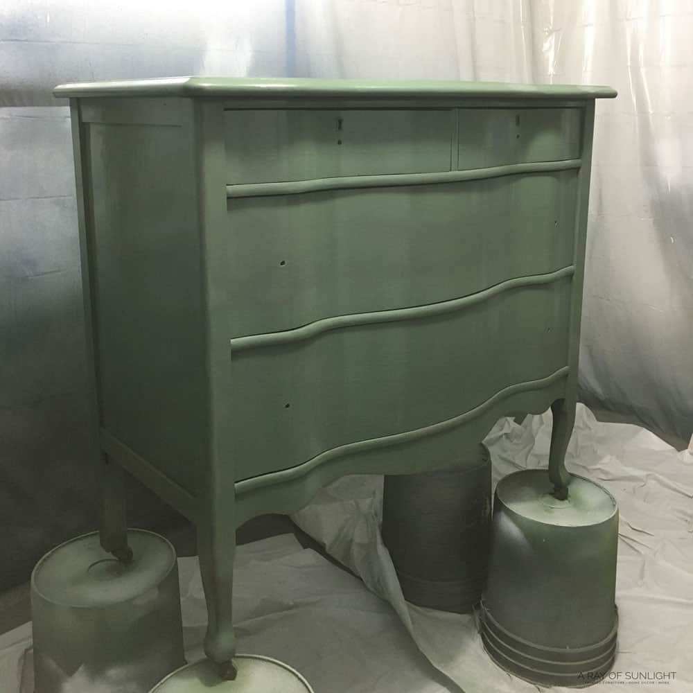 Dresser painted in green chalk paint