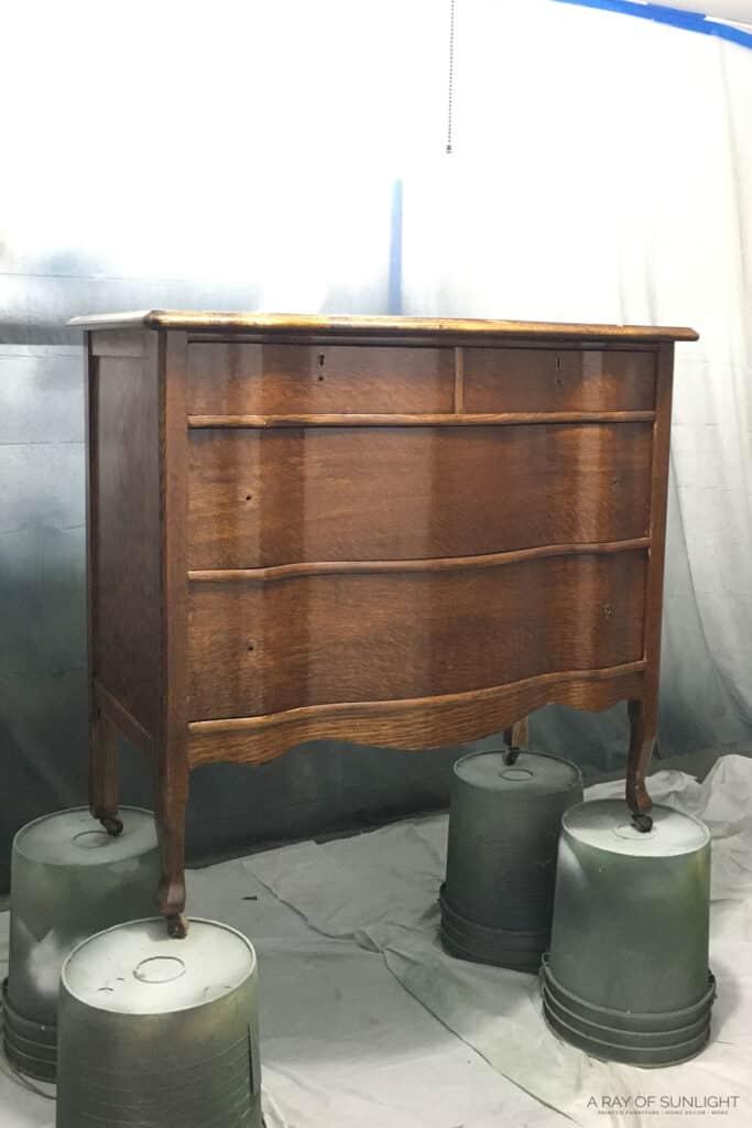 Primed dresser ready for paint