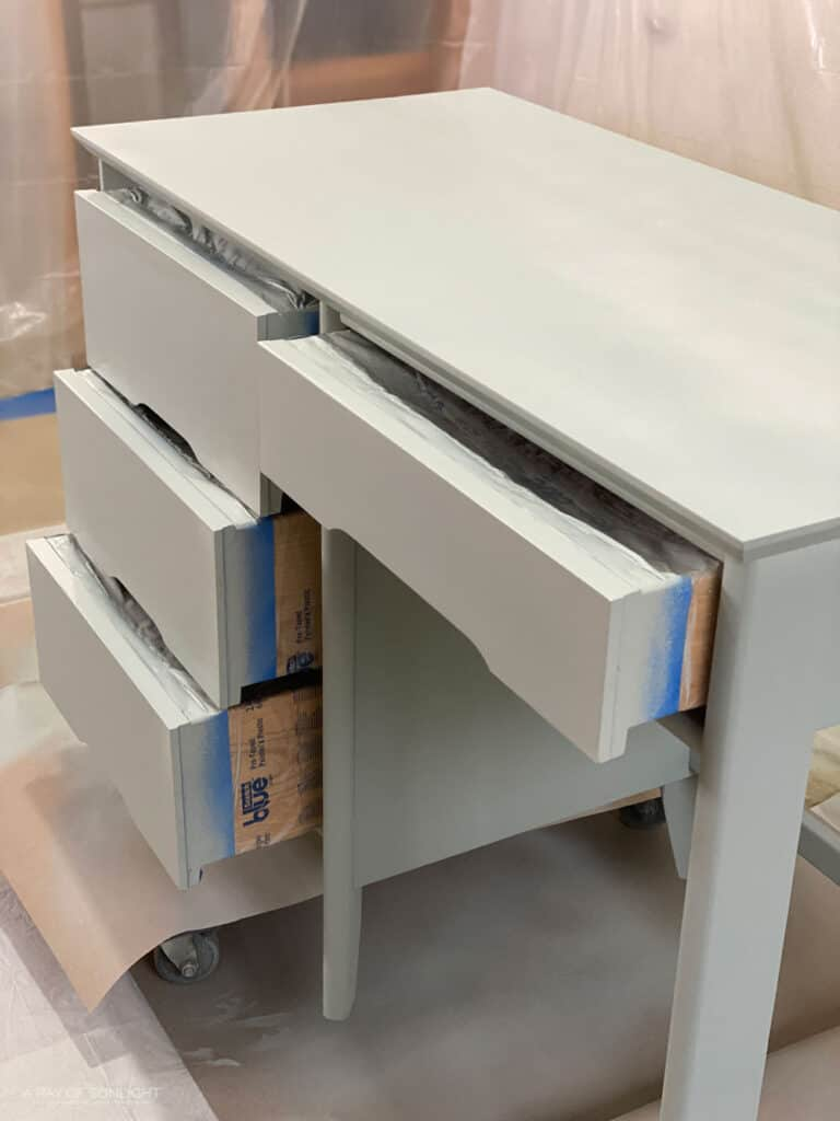 desk painted in chalk paint with wagner double duty paint sprayer