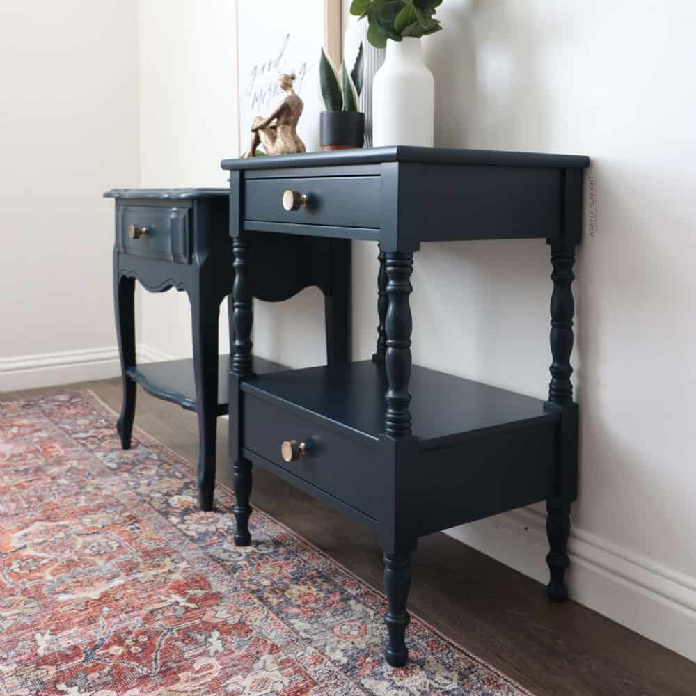 Blue mismatched chalk painted nightstands