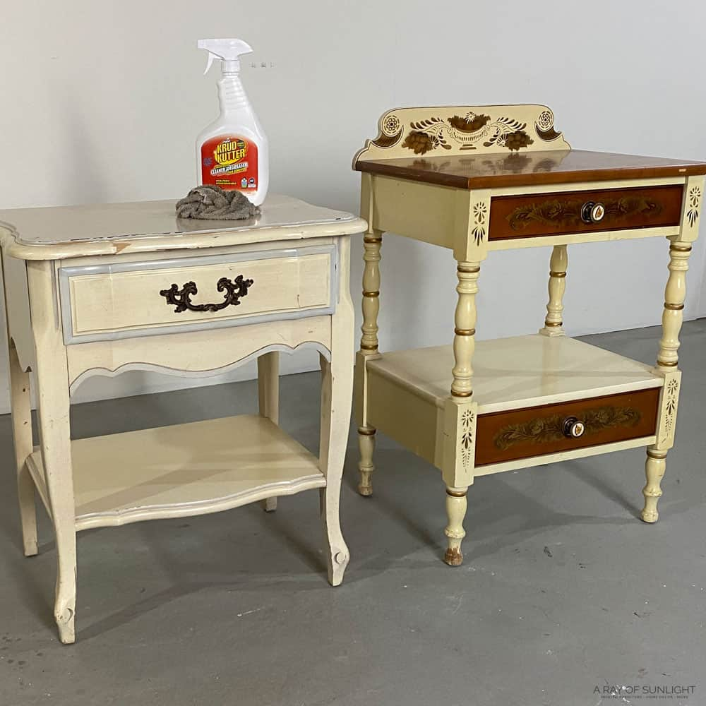 Cleaning nightstands with Krud Kutter