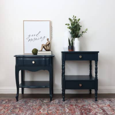 Blue chalk painted mismatched nightstands