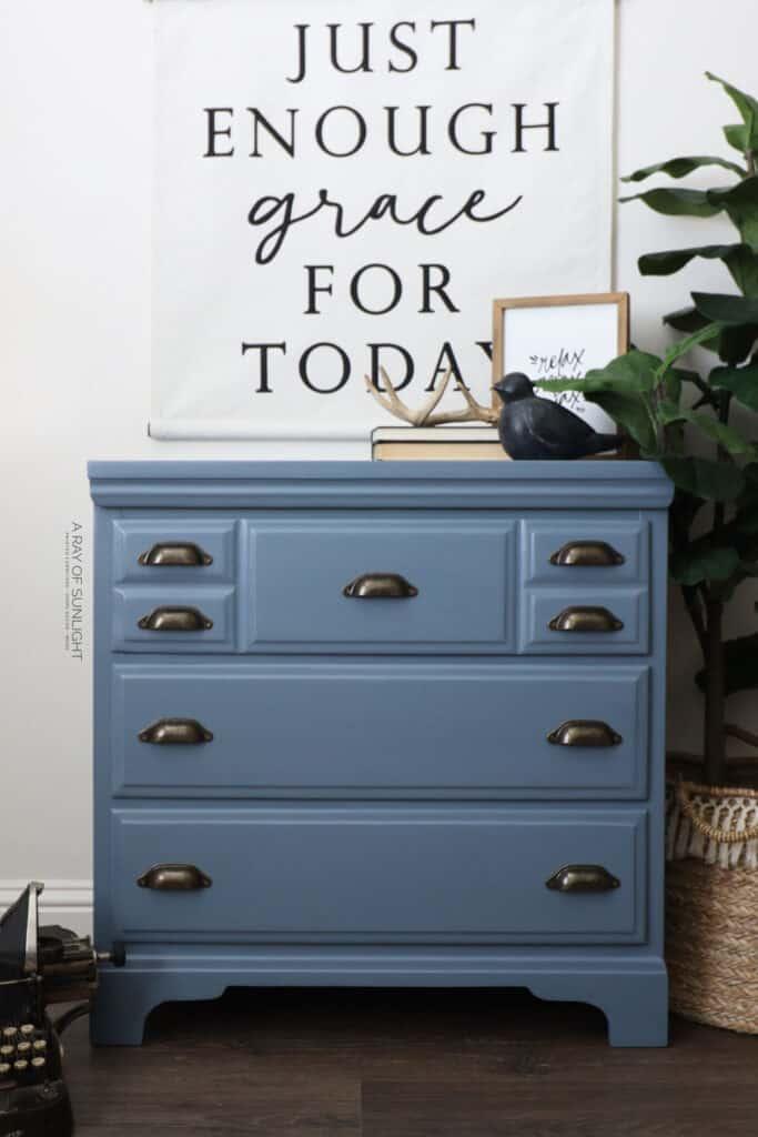 Blue chalk painted dresser after makeover