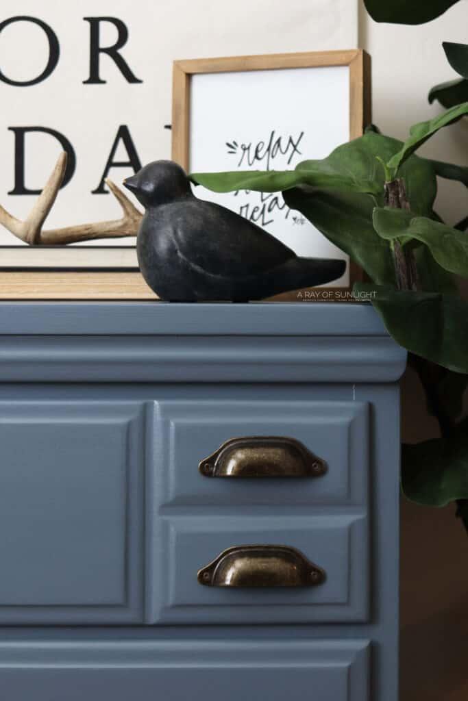Blue chalk painted dresser up close.
