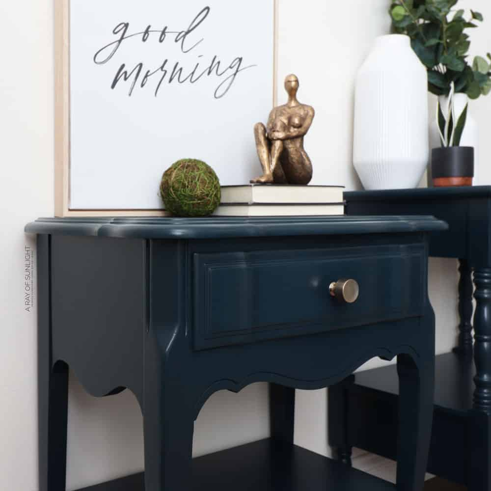 Mismatched nightstands painted in blue