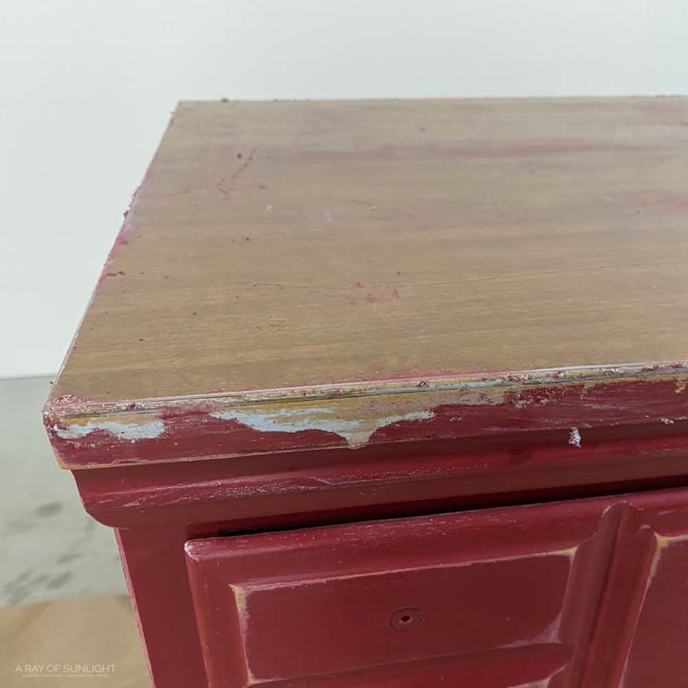 laminate top before cleaning with mineral spirits