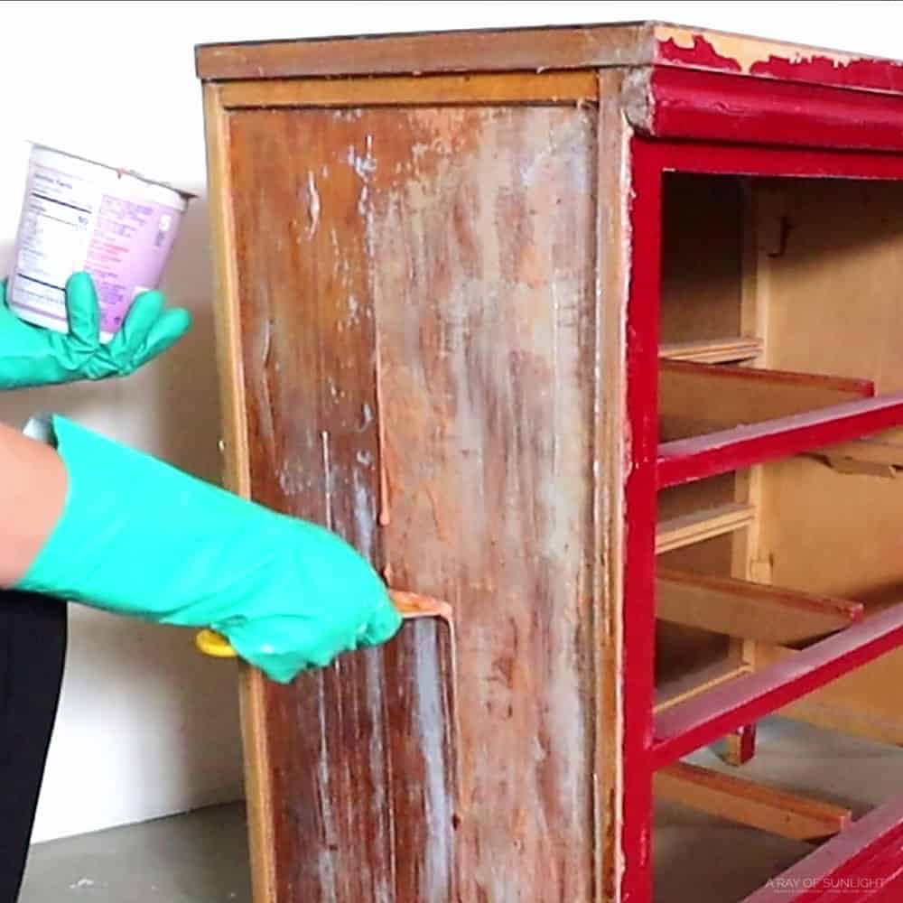 scraping off the second layer of paint