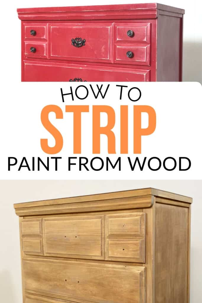 """""""how to strip paint from wood"""" before and after pictures of the dresser"""