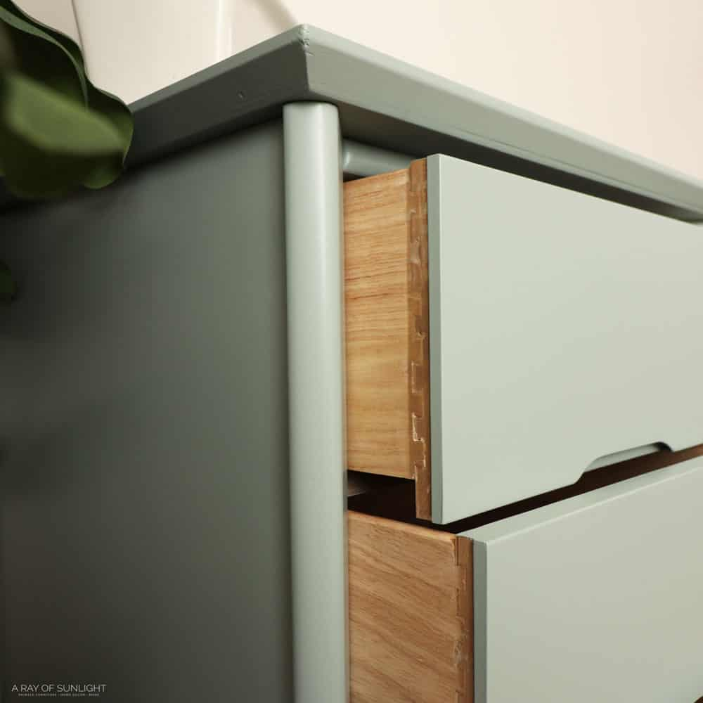 the painted laminate desk with the drawers open