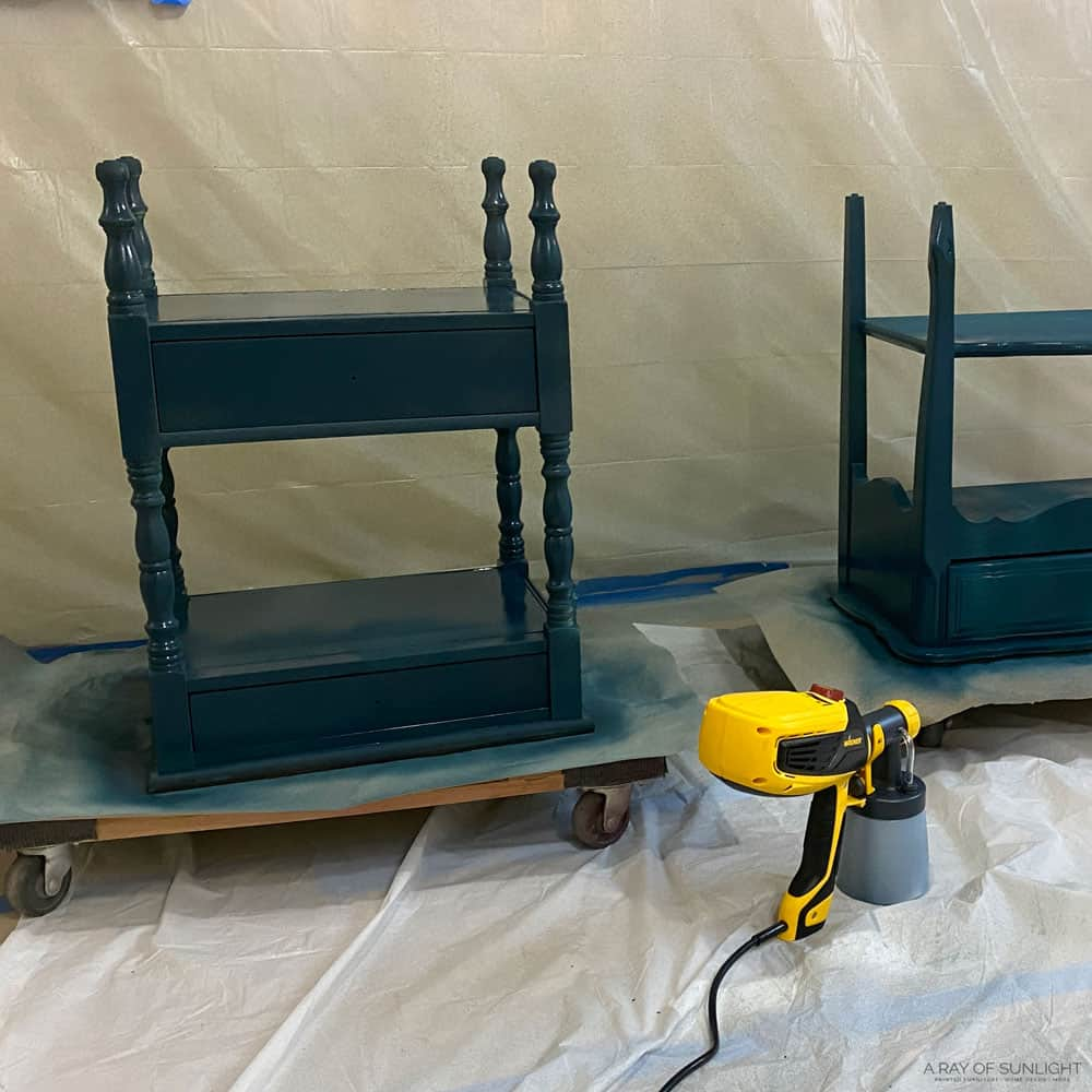 Upside down nightstands with one coat of paint