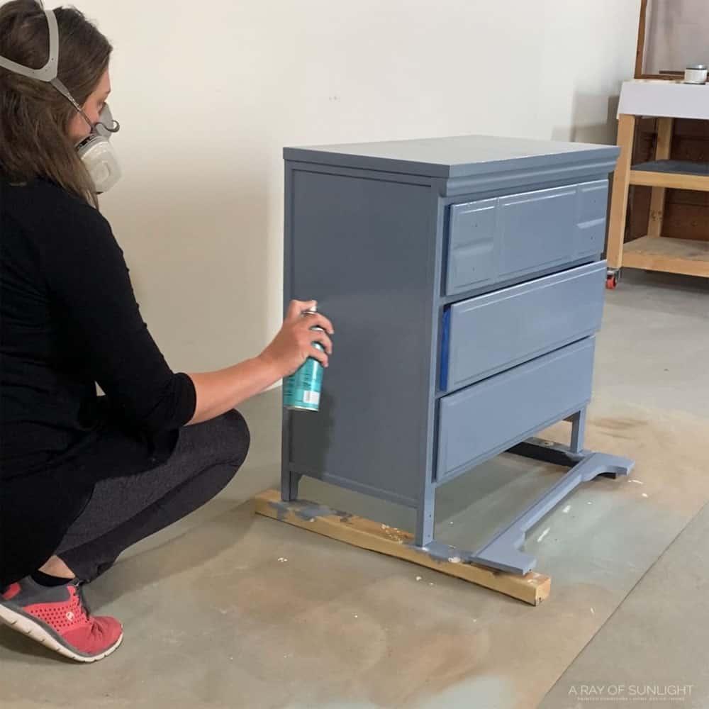Sealing the paint with three coats of Minwax polycrylic.