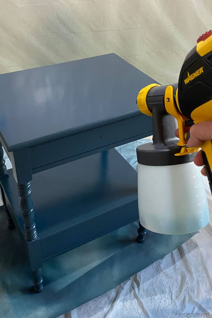 spraying furniture with wagner paint sprayer