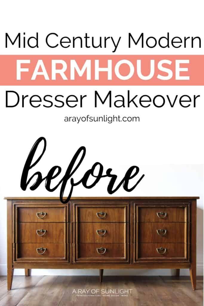 Mid Century Modern Farmhouse Dresser Makeover