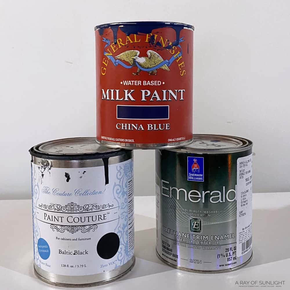 general finishes milk paint, paint couture paint, and emerald urethane trim enamel paint