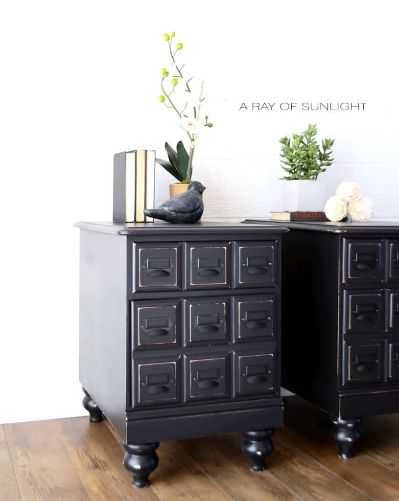 side shot of the faux apothecary nightstands