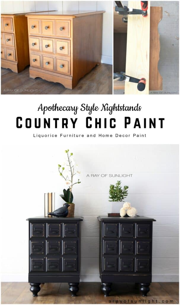 """pinnable image """"apothecary style nightstands with Country Chic Paint"""""""