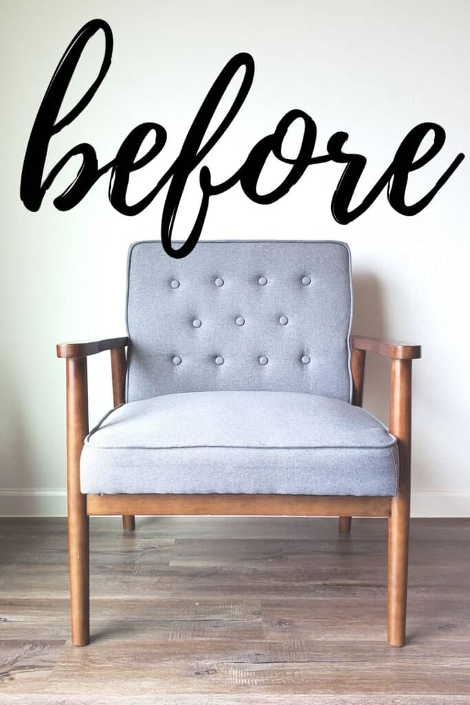 Before painting a fabric chair with chalk paint.