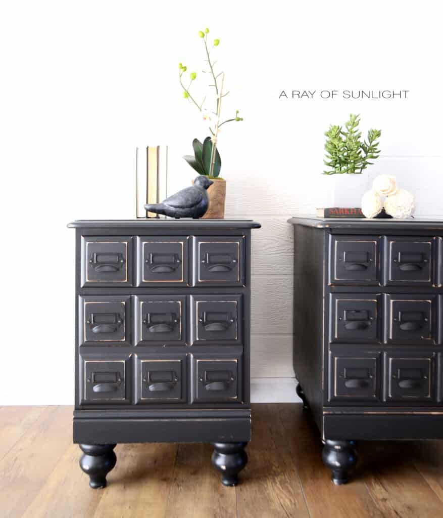 black painted nightstands with new legs