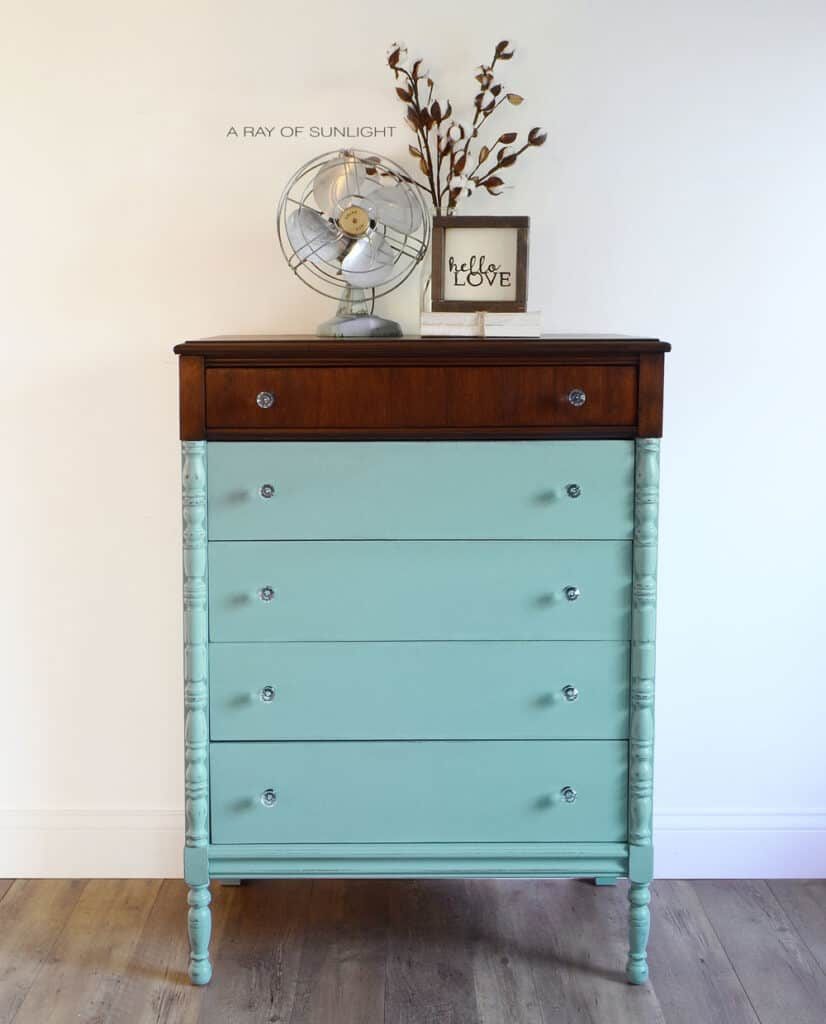 teal painted antique dresser with arylic clear knobs