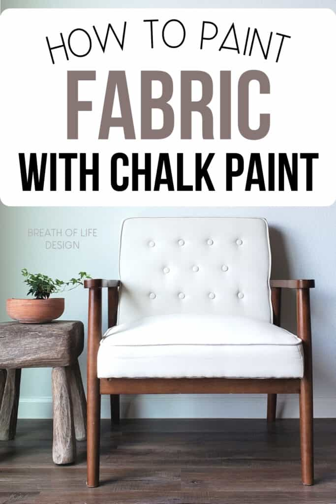 Painting a fabric chair with chalk paint.