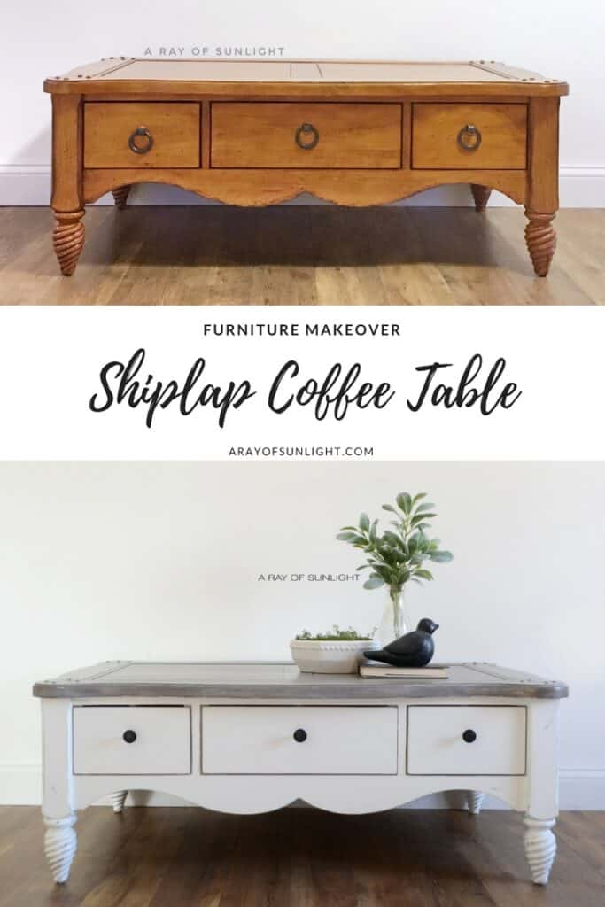 """pinnable image """"furniture makeover shiplap coffee table"""""""