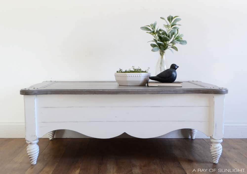 white painted coffee table with weathered wood painted top