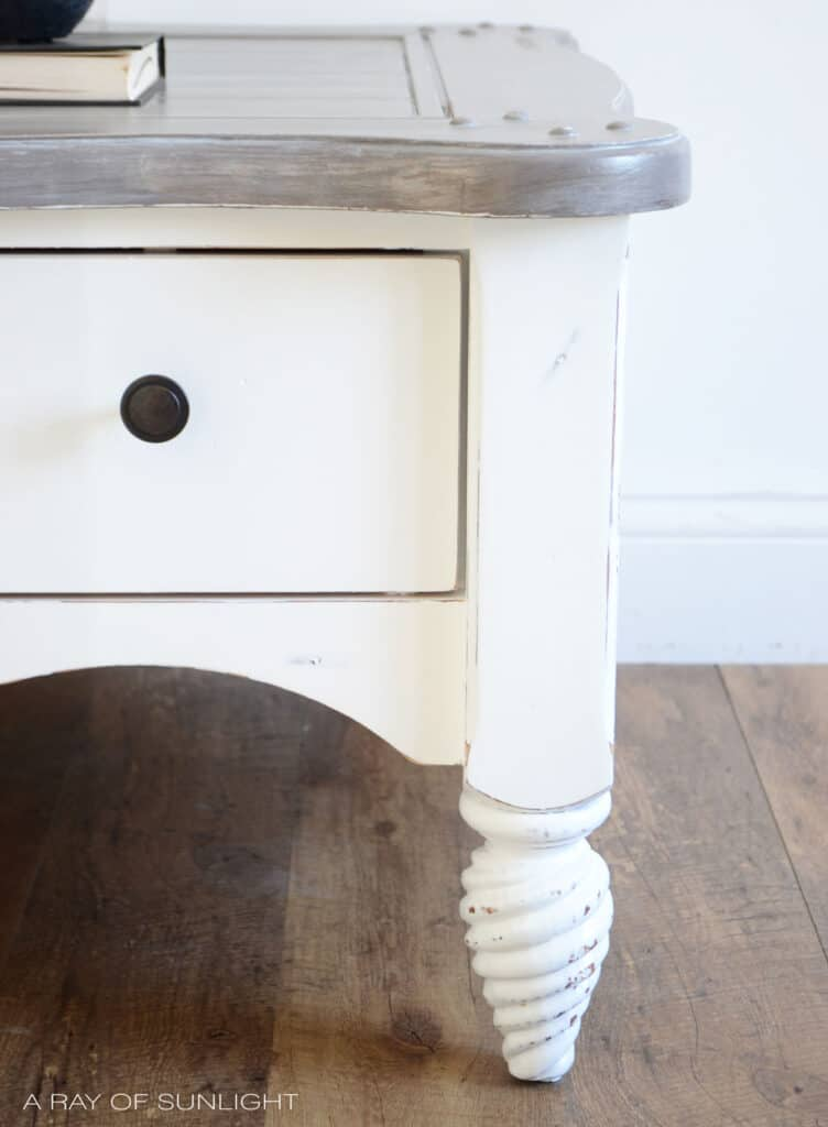 tight shot of white painted coffee table