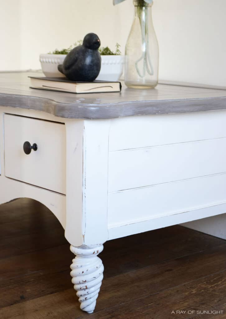 side shot of shiplap coffee table