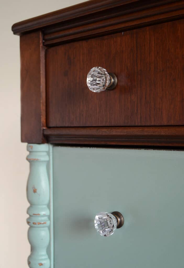 closeup of finished dresser with stained top