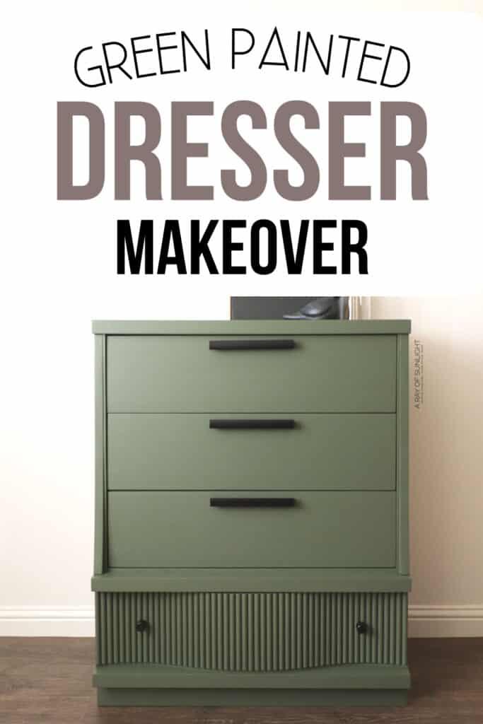 green painted DIY fluted dresser makeover class=