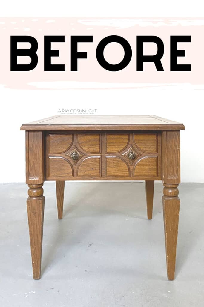 """single end table with text overlay """"before"""""""