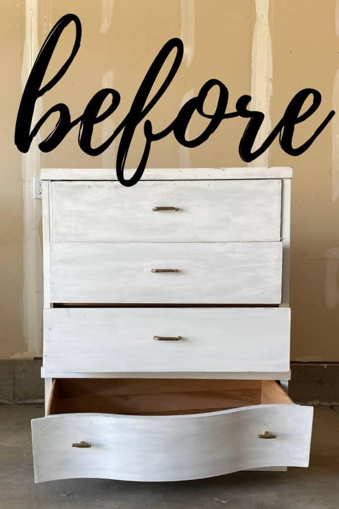 thrifted art deco dresser before