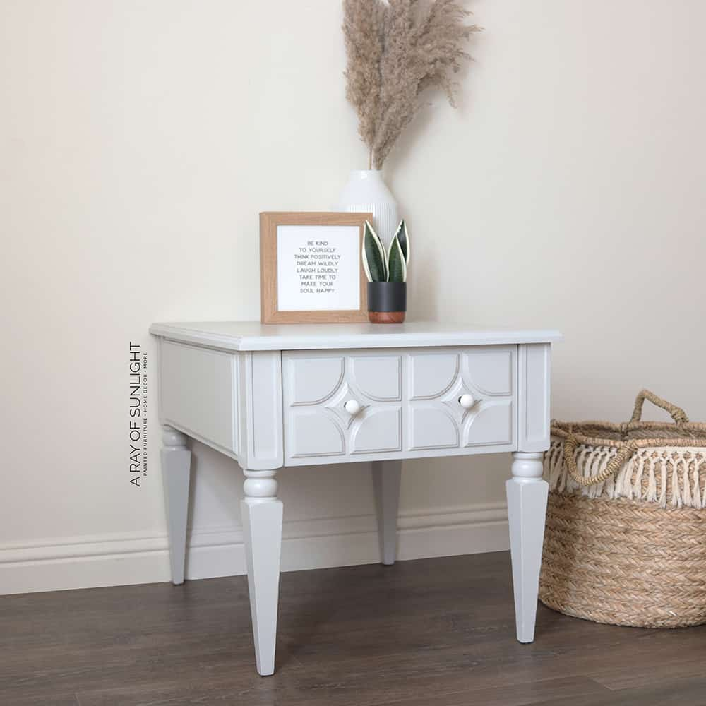 end table painted in general finishes milk paint seagull gray - side view