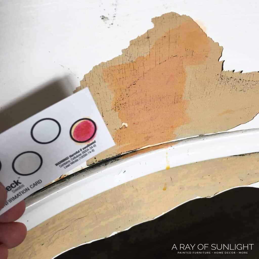 redish test liquid on lead paint